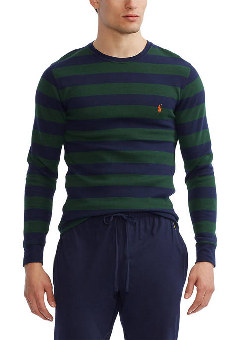 Thermal Crew Olive and Navy Rugby Stripe Sleep Shirt