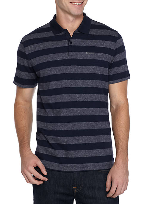 Calvin Klein Short Sleeve Slub Interlock Stripe Polo