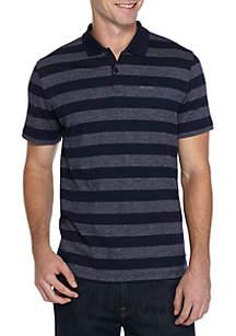 Short Sleeve Slub Interlock Stripe Polo