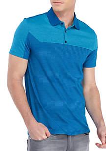 Short Sleeve Liquid Jersey Angled Stripe Blocking Polo