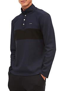 Long Sleeve Color Blocked Chest Stripe S&Z Quarter-Zip Pullover