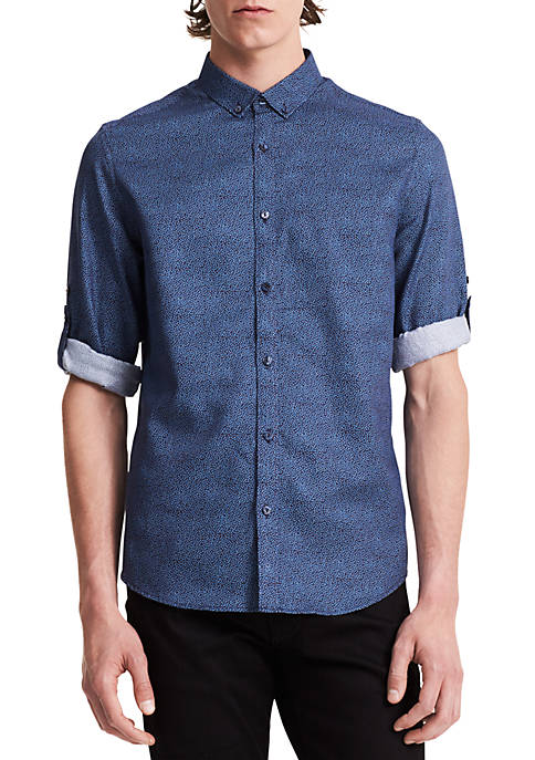 Calvin Klein Long Sleeve Half-Dot Print Roll-Up Shirt