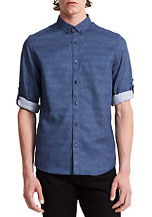 Long Sleeve Half-Dot Print Roll-Up Shirt