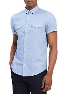 Short Sleeve Button Down Diamond Dobby Shirt