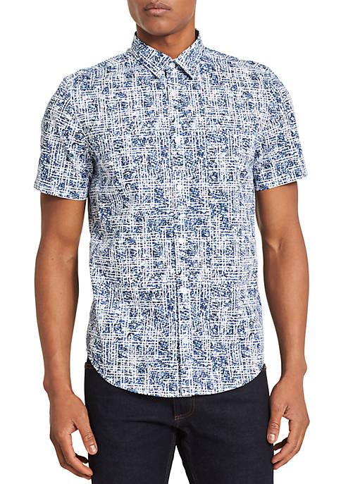 Calvin Klein Short Sleeve Maze Print Shirt