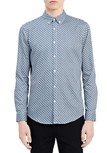 Long Sleeve Stretch Step Dobby Button Down Shirt