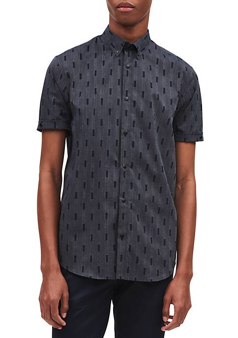 Calvin Klein Short Sleeve Square Jacquard Collar Shirt