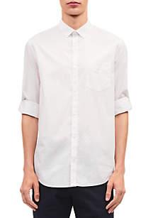 Long Sleeve Dot Roll-Up Collar Shirt