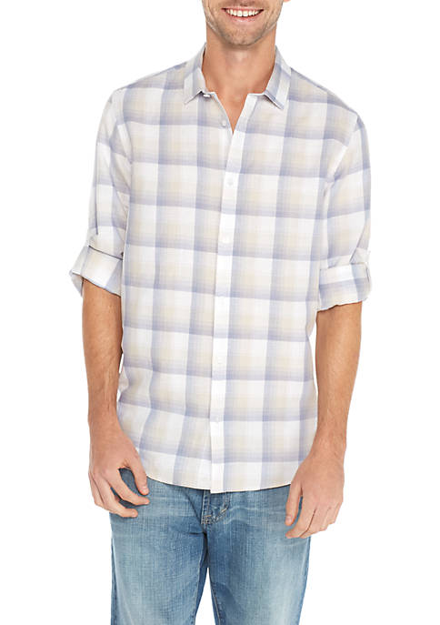 Calvin Klein Long Sleeve Linen Cotton Ombre Plaid