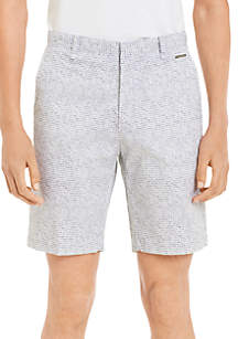 Flat Front Printed Twill Shorts