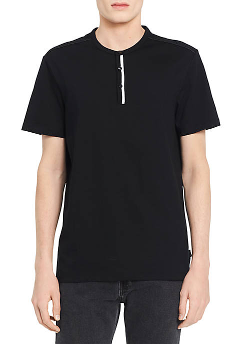 Calvin Klein Short Sleeve Solid Flat Knit Trimmed