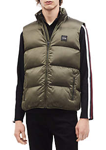 Puffer Vest with Contrast Rib Tipping