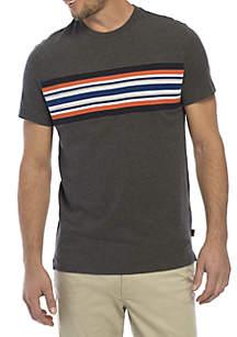 Short Sleeve Stripe Crew Neck Tee