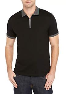 Short Sleeve Contrast Tape Rib Collar Cuff Polo Shirt