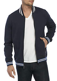 Solid Zip Bomber Jacket