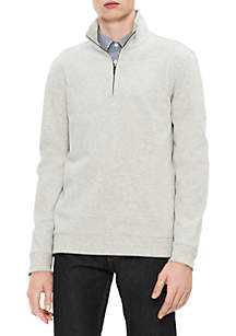 Calvin Klein New Essentials Regular Fit Solid Logo Zip Sweater