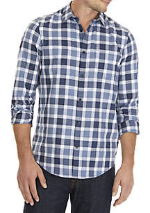 Long Sleeve Straight Hem Buffalo Plaid Shirt