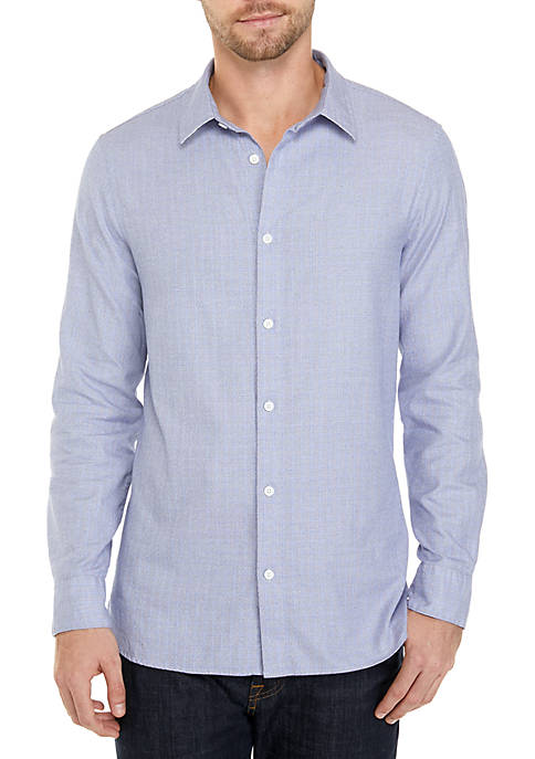 Calvin Klein Long Sleeve French Placket Windowpane Shirt