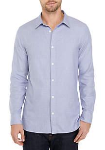 Long Sleeve French Placket Windowpane Shirt