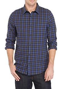 Long Sleeve Brushed Workwear Plaid Shirt