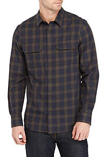 Long Sleeve Brushed Twill Tatersall Button Down Shirt