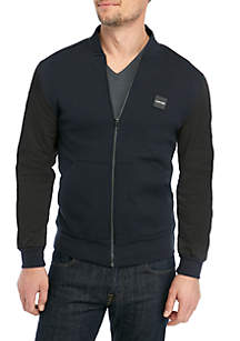Calvin Klein Solid Mixed Media Nylon Blocked Full Zip Jacket