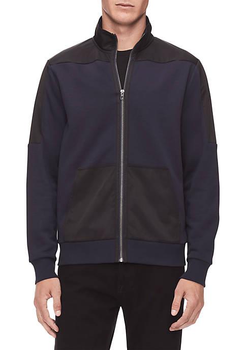 Calvin Klein Full Zip Mock Neck Nylon Shoulder