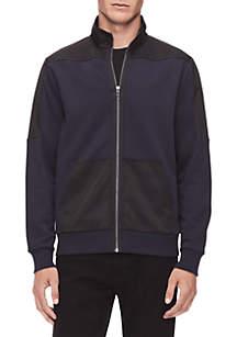 Calvin Klein Full Zip Mock Neck Nylon Shoulder Pocket Jacket