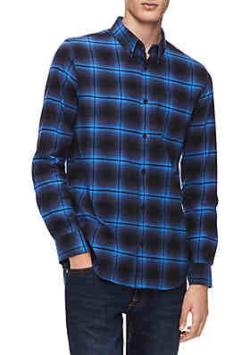 8d7aa0549d Calvin Klein Regular Fit Brushed Flannel Shirt ...