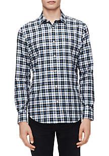 Calvin Klein Plaid Brushed Twill Long Sleeve Shirt