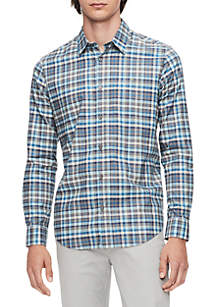 Multi-Color Plaid Long Sleeve Woven Shirt