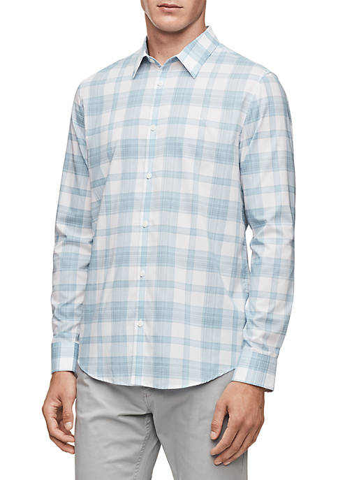 Calvin Klein Plaid French Placket Long Sleeve Woven