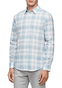 Plaid French Placket Long Sleeve Woven Shirt