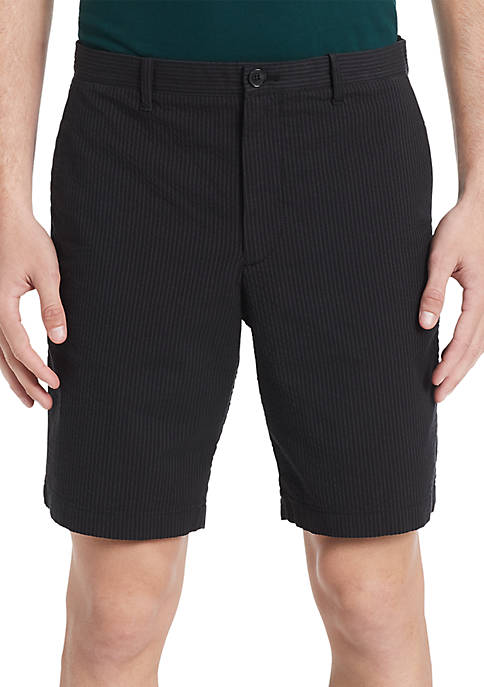 Flat Front Seersucker Shorts