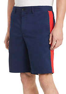 Calvin Klein Flat Front Refined Cotton Twill Band Shorts