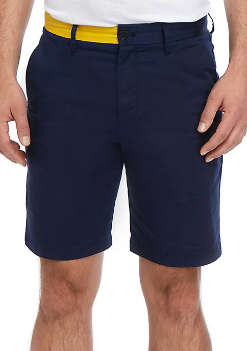 Calvin Klein Flat Front Colorblocked Sateen Shorts