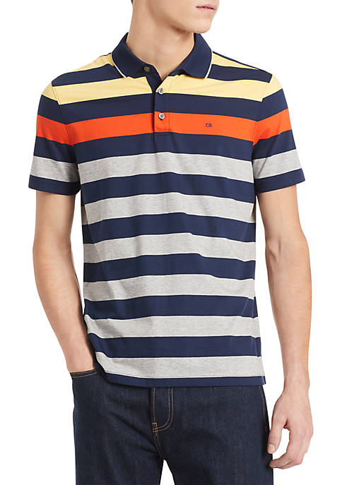 Calvin Klein Short Sleeve Three Button Stripe Polo