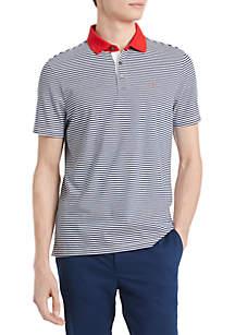 Calvin Klein Feeder Stripe Contrast Collar Turn Back Cuff Polo
