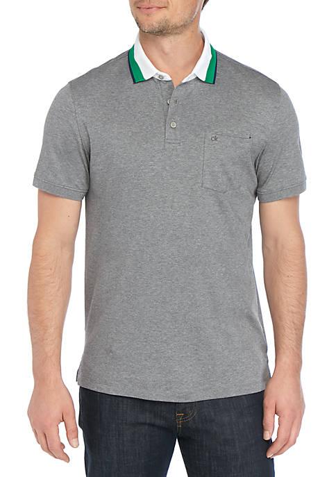 Calvin Klein Short Sleeve Contrast Tipped Jacquard Collar