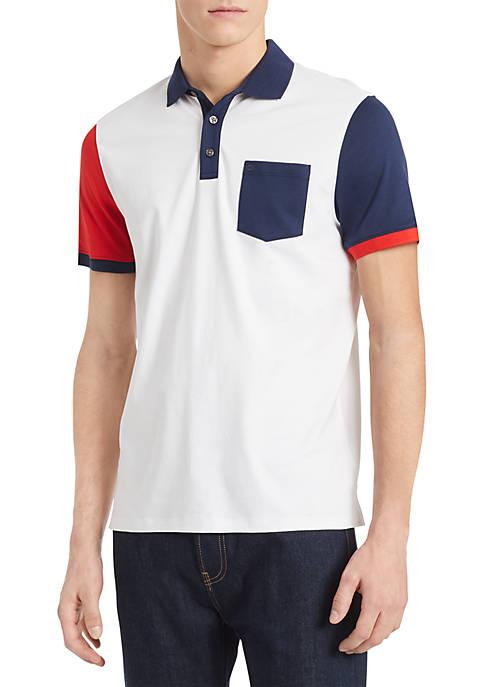 Calvin Klein Short Sleeve Asymmetric Color Block Polo