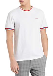 Calvin Klein Short Sleeve Rib Tipping Contrast Logo T Shirt