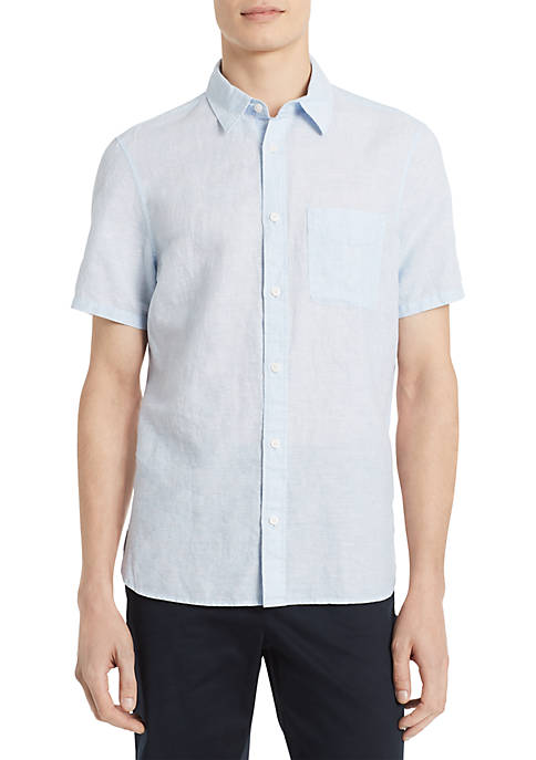 Calvin Klein Short Sleeve Cotton Linen Shirt