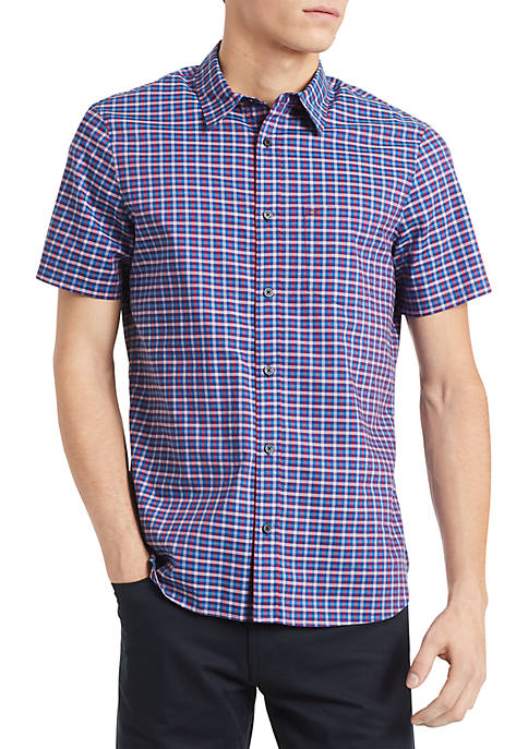 Calvin Klein Short Sleeve Check Slub Button Down