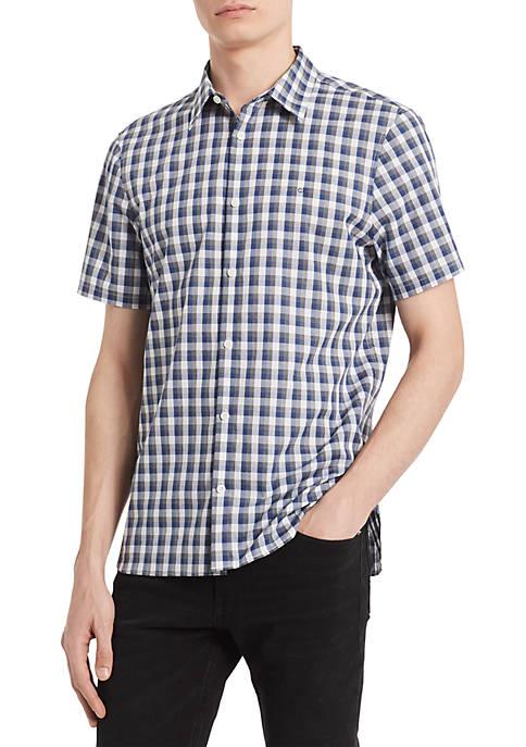 Calvin Klein Short Sleeve Check Button Front Shirt