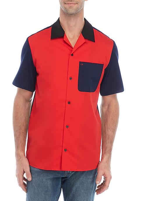 Short Sleeve Color Block Sateen Camp Shirt