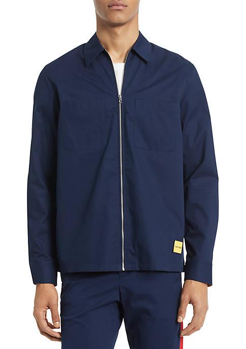 Calvin Klein Long Sleeve Zip Front Cotton Twill