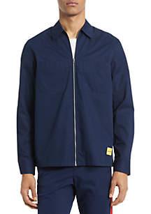 Calvin Klein Long Sleeve Zip Front Cotton Twill Shirt Jacket