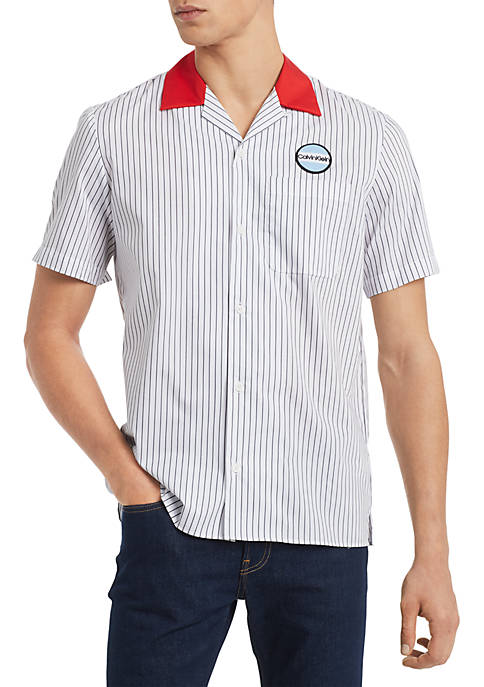 Calvin Klein Short Sleeve Stripe Twill Garage Shirt