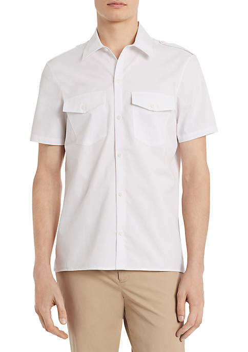 Calvin Klein French Placket Cotton Short Sleeve Shirt
