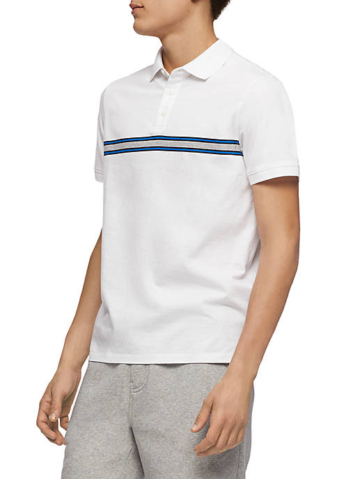 Calvin Klein Short Sleeve Engineered Chest Stripe Polo
